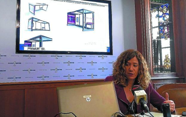 Nuevo modelo. Cristina Laborda presentó ayer la propuesta de marquesina que se llevará a votación./