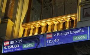 El Ibex-35 crece sobre los 9.100 puntos con el apoyo de la banca