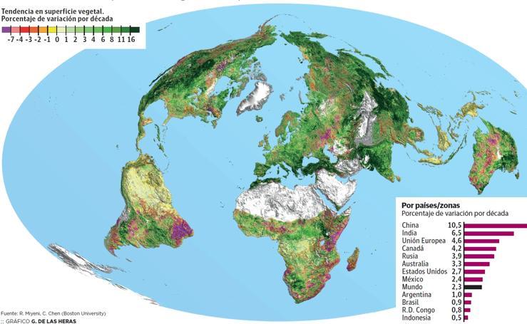 Cambios en la superficie vegetal del planeta