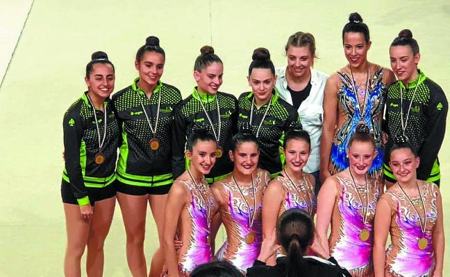 Buenos resultados de las gimnastas locales en Santurtzi