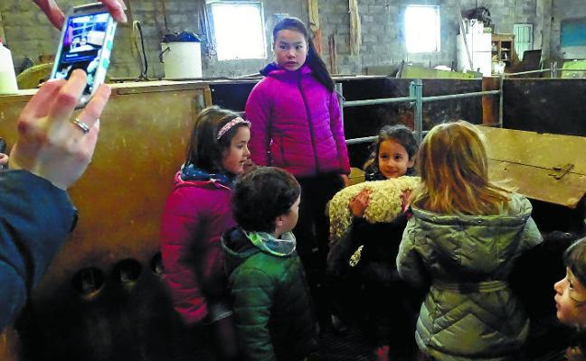 Los niños, pastores por un día en Erraizabal