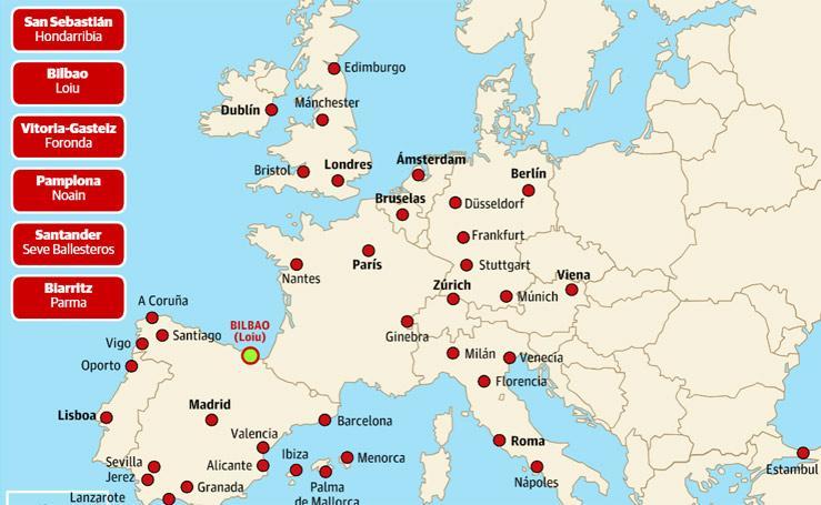 Vuelos directos desde los aeropuertos cercanos a Donostia