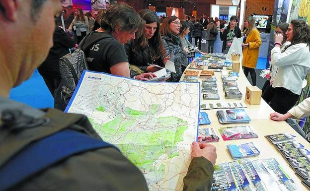 Visitantes a la última feria de Sevatur consultan mapas y folletos sobre destinos turísticos. /LOBO ALTUNA