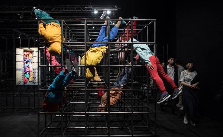 Exposición de esculturas humanas en Hong Kong