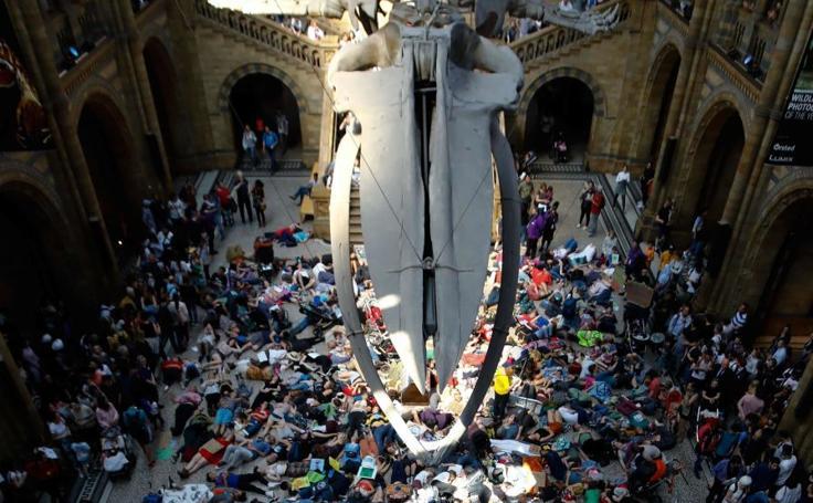 Protesta contra el cambio climático en el Museo de Historia Natural de Londres