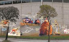 Ya está todo listo para pintar el mural en la fachada del polideportivo