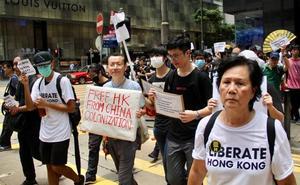 Maratón de protestas en Hong Kong para presionar al G-20 contra la ley de extradición a China