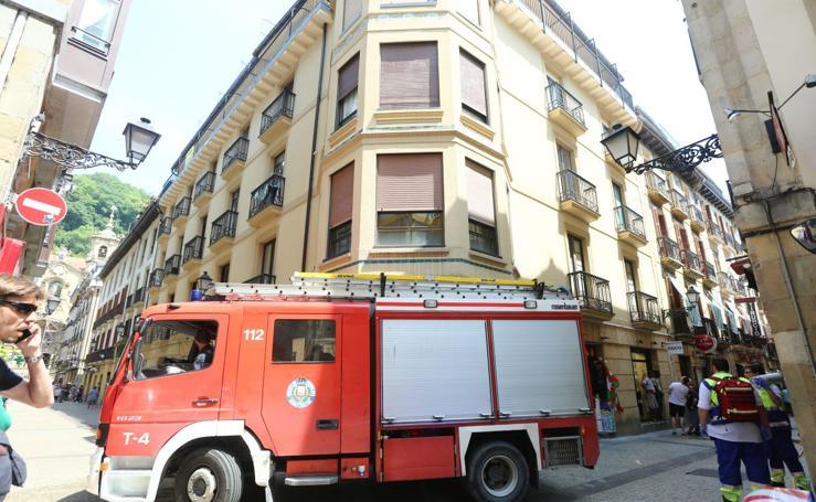 Incendio en la Parte Vieja de Donostia