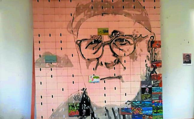 Mural-homenaje a Mendi en Ebro Etxea