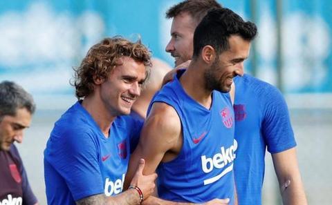 Griezmann, feliz en su primer entrenamiento con el FC Barcelona