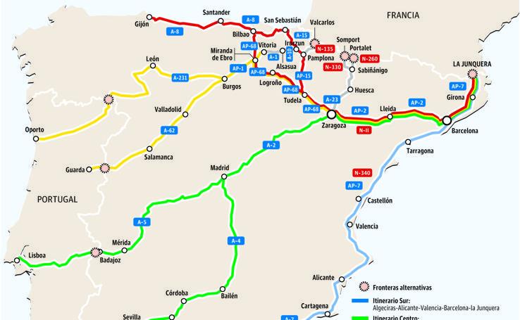 Itinerarios alternativos a la frontera en Irun