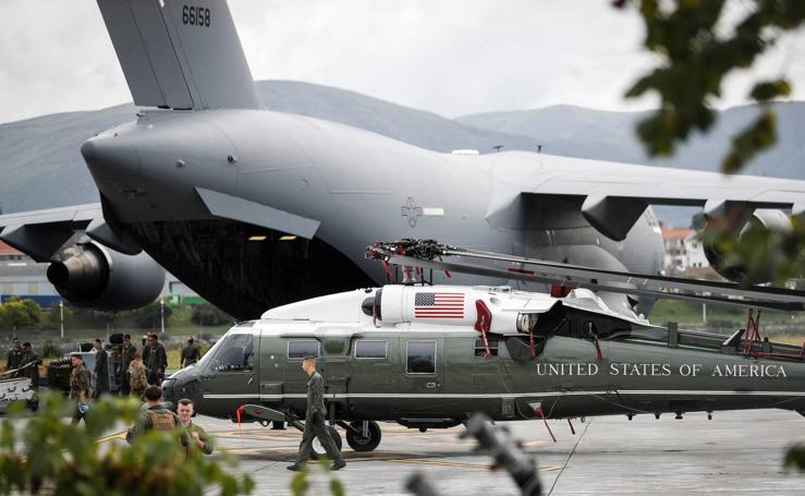 Un Boeing C-17 del ejercito de Estados Unidos, en Hondarribia
