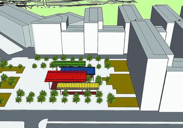 Infografía que muestra la futura cubierta del parque, de distintos colores y con varios niveles. /