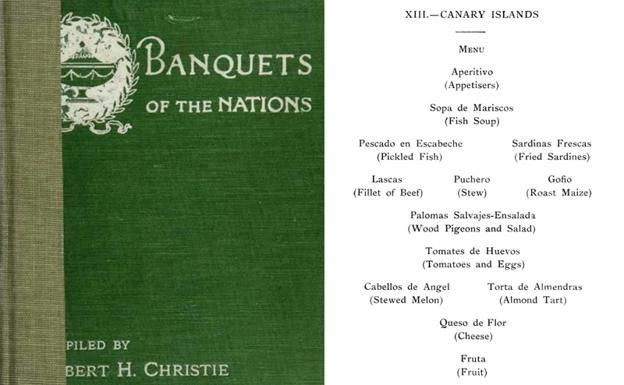 Menú canario del 'Banquet of the Nations'.