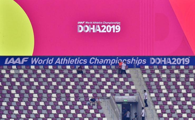 Gradas vacías en el Mundial de atletismo