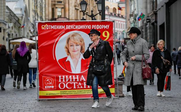 Election propaganda on the streets of Moscow.