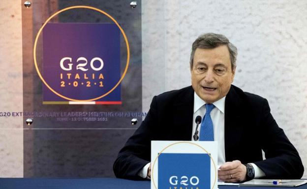 Italian Prime Minister Mario Draghi, at the G20 summit.