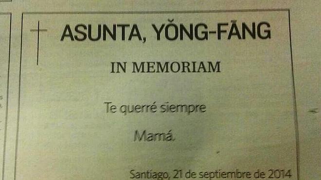 La madre de Asunta recuerda a su hija con una esquela: «Te querré siempre»