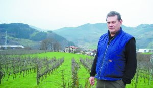 Su pasión. Iñaki Etxeberria posa en su casa de Olaberria. A sus espaldas parte de sus más de tres hectáreas de uva. ::                              ELOSEGI/
